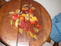 FRUIT TOLL PAINTING ON CHEESE BOX.$ 60.00 BARBSNOOK,ETSY