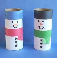 Sneeuwman van een lege toilet rol | idee voor bij het thema Winterpret| www.peuteractiviteitenweb.com