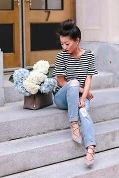 Simple in Striped Tee + Jeans (reviews of petite-friendly styles!)