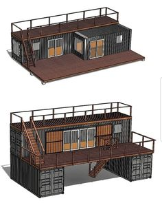 Describe this design with your favorite emojis in the comments! Awesome shipping container home design made by Building A Container Home, Container Buildings, Container Architecture, Container Houses, Sustainable Architecture, Cargo Container Homes, Contemporary Architecture, Tiny House Cabin, Tiny House Plans