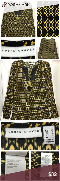 Women Top L/S Susan Graver Geometric Stretch Black Susan Graver (SG) Womens Susan Graver Top / Blouse / Shirt Size Medium Long Sleeve Career / casual wear Tie straps with tassels Multicolor - Black Yellow Geometric diamond print Stretch (Polyester 95% / Spandex 5%) - Liquid Knit Great condition. No holes, stains or rips.  Thank you for stopping by. Please check out our other items to BUNDLE and SAVE! Susan Graver Tops Blouses