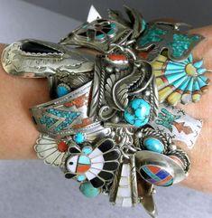204g 49 Charms Navajo Thunderbird Rabbit Owl Turquoise Coral Charm Bracelet $595 start bid