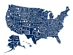 Stately Type - Hand-lettered US Map and hand-lettered US state name t-shirts by David Lesue.