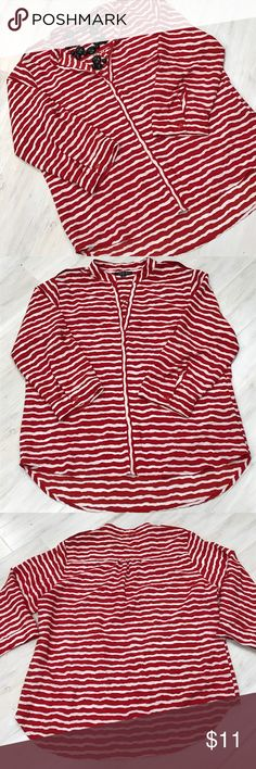 Antilia Femme red and white striped tunic Nice 3/4 sleeve red and white striped tunic. Antilia Femme Tops Tunics