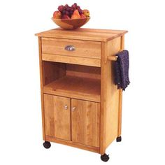 Catskill Craftsmen Birch Hardwood Cuisine Butcher Block Kitchen Cart in Natural Finish - 1569