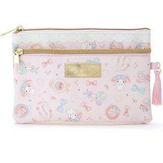 Sanrio Original My Melody Leather Flat Multi Pouch Bag Wallet Makeup Pouch Japan #SanrioJapan