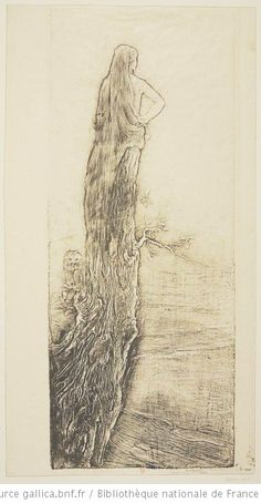La Solitude de Fernand Massignon dit Pierre Roche, 1906, gypsographie sur papier Japon, 50,2 x 20,5 cm (image) et 51,8 x 27,5 cm (feuille), Bibliothèque Nationale de France à Paris.