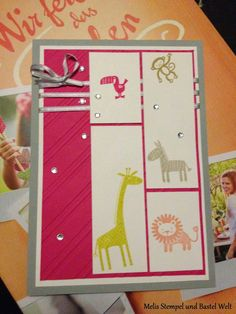 Stampin Up, Zoo Babies, Kinder Karte, Kids Card, Geburt,
