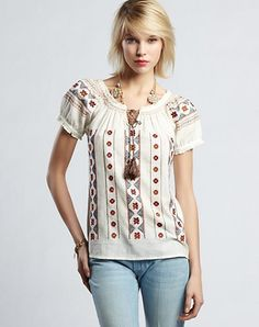 La Blouse Roumaine inspiration for Lucky Brand - California, USA Lucky Brand, Peasant Tops, Blouse Styles, Jeans, Vintage Inspired, Floral Tops, Autumn Fashion, Topshop, My Style