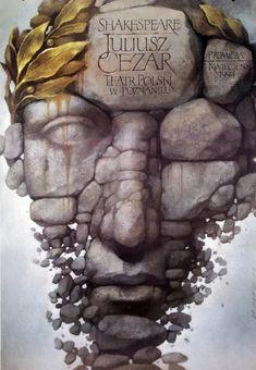 Julius Caesar, Shakespeare, Polish Theater Poster. Designer: Wieslaw Walkuski, 1994.