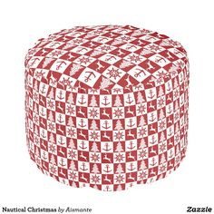 Nautical Christmas Pouf