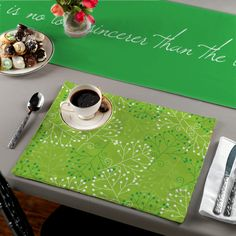 "Table runners measure 16"" x 72"". Pair with our Green Leaves coordinating placemat set TBP-TEL-D to complete the look."