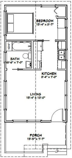 16x30 1 Bedroom House -- #16X30H1 -- 480 sq ft - Excellent Floor Plans