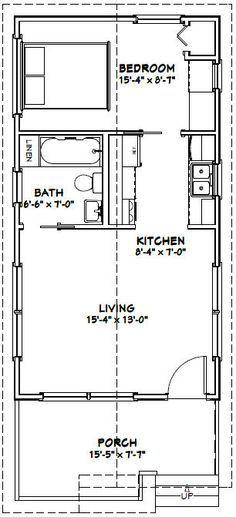 16x30 1 Bedroom House -- #16X30H1 -- 480 sq ft - Excellent Floor Plans