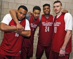 From left, Oklahoma's Jordan Woodard (10), Isaiah Cousins (11), Buddy Hield (24) and Ryan Spangler (00) pose for a photo after practice for West Regional final in the NCAA Men's Basketball Championship between the OU Sooners and Oregon Ducks at the Honda Center in Anaheim, Calif., Friday, March 25, 2016. The final on Saturday will be the 104th consecutive start together for the four players. Photo by Nate Billings, The Oklahoman