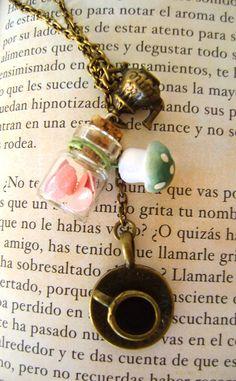 Alice in wonderland necklace Bottle Magic Mushroom Wonderland necklace Hearts, teapot, tea cup in bronze color.