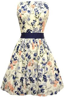 Vintage Peach & Navy Floral Tea DressAs a special introductory offer, you can get £5 off these dresses by using the code 'NEWTEA5' at checkout. Please note that this code is only valid for Tea Dresses, and must be applied to the order to be valid for the discount. We are not able to apply the discount to orders already placed without the code. Offer expires 23:59 30/04/2014.