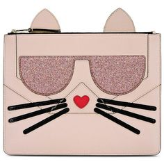 Karl Lagerfeld K/Kocktail Choupette Pouch ($150) ❤ liked on Polyvore featuring bags, handbags, clutches, sea shell, karl lagerfeld, pink glitter purse, pink clutches, pouch purse and glitter handbag