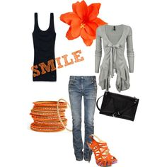 smile, created by sapphirelynx on Polyvore - I'm usually not a fan of orange, but I LOVE this!!