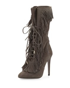 5756a74fa96 Aquazzura Carly Suede Fringe Mid-Calf Boot Lace Up Heel Boots, Lace Up High