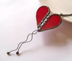 Stained glass pendant copper wire jewelry red by ArtemisFantasy, $30.00