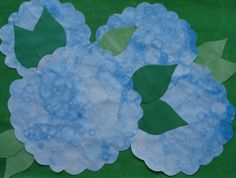 Bubble Paint Hydrangeas. I've used this technique with my Kindergartners over here... it can get messy, but it's so fun, and this way seems very exciting! From: a faithful attempt