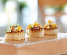 Seared Scallops with Feta Mango Salsa and Apetina® Crumbled Feta Cheese #scallops #appetizer #seafood