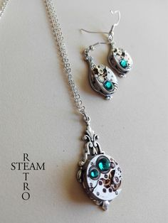 Items similar to Steampunk Jewelry set in turquoise - Steampunk wedding set - Steampunk Necklace & Earrings - Gift for her - Jewellery set - steampunk on Etsy Gift Sets, Steampunk, Turquoise, Trending Outfits, Unique Jewelry, Handmade Gifts, Etsy, Vintage, Kid Craft Gifts