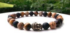 Mens Buddha Bracelet with Black Onyx, Tiger Eye and Picture Jasper