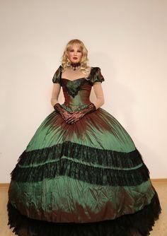Sabrina in a beautiful Biedermeier ballgown with a large hoopskirt