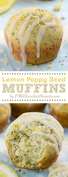Lemon Poppy Seed Muffins –Simple and easy recipe for bright and sunny breakfast or brunch- moist, lemon infused muffins made with Greek yogurt. Slight crunch from poppy seeds makes really interesting twist on the classic, plain lemon muffins. Köstliche Desserts, Chocolate Desserts, Baking Dessert Recipes, Baking Snacks, Desserts Faciles, Baking Chocolate, Chocolate Cake, Homemade Muffins, Lemon Muffins
