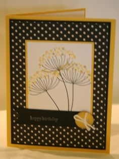 Stampin' Up! ... hadmade card ... Simple Silouettes by razldazl  ... black, white and yellow ... cute card with polka dot paper abd a bit of bling on the flowers ...