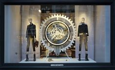Check out VMSD's annual holiday windows recap! Shown: Belstaff, London. Photography: Adam Kirkman, Checkland Kindleysides, Leicester, U.K. (more: http://vmsd.com/content/holiday-windows-2014-4)