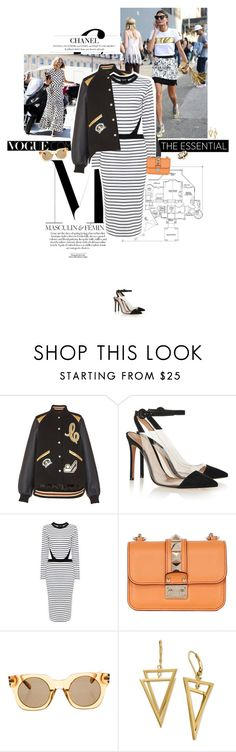 """""""Masculin & feminin."""" by sa3ina ❤ liked on Polyvore featuring Diane Von Furstenberg, Candela, Coach 1941, Gianvito Rossi, Valentino, Marc Jacobs, Lele Sadoughi, stripes, stripeddress and SpringStyle"""