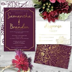 Beautiful in Burgundy by HeartOfOpal on Etsy #wedding invitations More