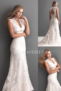 ONLY $190!!! Graceful V-neckline Lace A-line Wedding Dress of Empire Waistline. I love that the straps are modest.