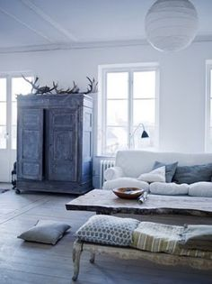 white walls, blue shutters, French doors, wood floor | Home deco ...