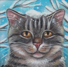 Winter Theme Gray Tabby Cat - Mini Acrylic Painting