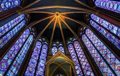 Beautiful stained glass windows in Saint-Chapelle, Paris, France