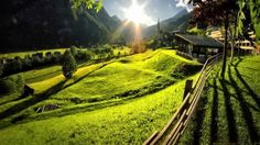 谷間の村に日光 スカイ 自然 高解像度で壁紙