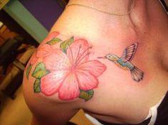 Tattoo - Hibiscus and Humming Bird by TheGreatScottHarris