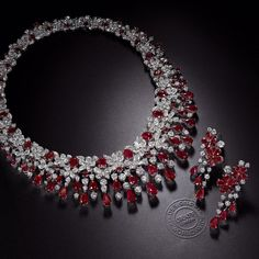 """New from the #GraffDiamonds' workshop in London, an exquisite floral cascade of rubies and diamonds"""