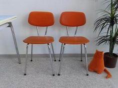2 oranje Brabantia stoelen vintage stoel retro jr '60 skai