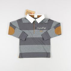 Polo ml de rayas con cuello en blanco de color Gris de marca Wooloo Mooloo