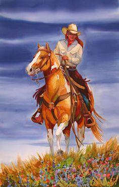❤ Cowgirls High Noon on Camas Prairie ~ Nancy Cawdrey Gallery Cowboy Art, Le Far West, Equine Art, Cute Cartoon Wallpapers, Wildlife Art, Western Art, Horse Art, Native American Art, Silk Painting
