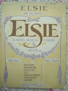 1923 Elsie Musical Comedy Chas W Bell Carlo Sheet Music by cindyscozyclutter on Etsy