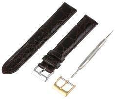Artisan of Italy CITPD400-0217ML Men's Dress Padded Crocodile 17mm Brown Long Watch Strap -- Learn more by visiting the image link.