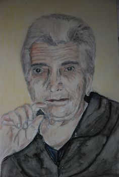 Mí abuela Primitiva. Formato A4. Acuarela realizada por Conchi Moreno. #retrato #acuarela #lápiz