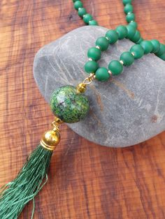 Long green tassel necklace. Tassel necklace with turquoise gemstone. Long beaded tassel necklace. Boho necklace. African turquoise necklace