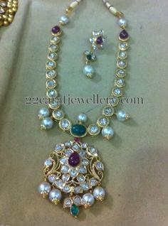 Jewellery Designs: Pachi Necklace with Pota Rubies